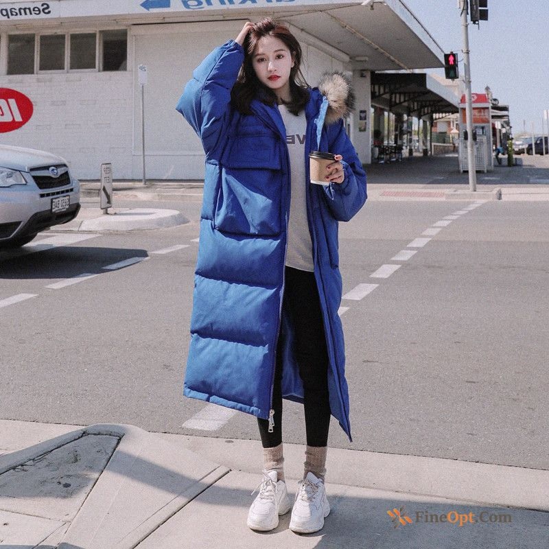 Student Thickening Long Europe Cotton-padded Big Fur Collar Blue Cotton Coat