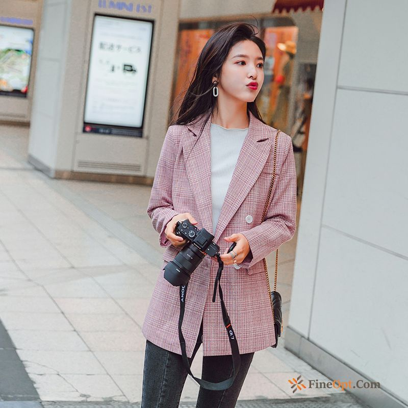 Suit Red Leisure Student Pink Loose Coat Blazer Discount