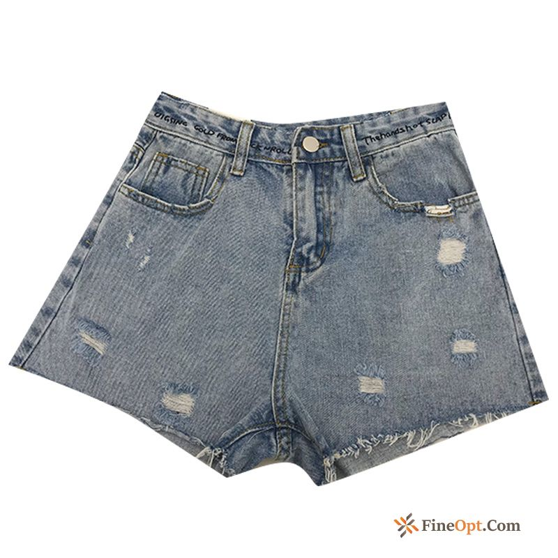 Summer High Waist Straight Denim Holes Spring Europe Khaki Shorts