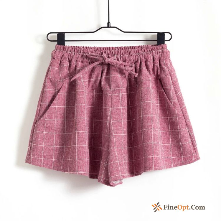 Summer Red Leisure Thin Europe Linen Pants Shorts Discount