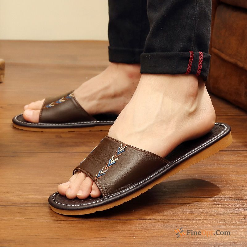 Summer Sheepskin Men's Brown Indoor Thick Sole Leather Slippers