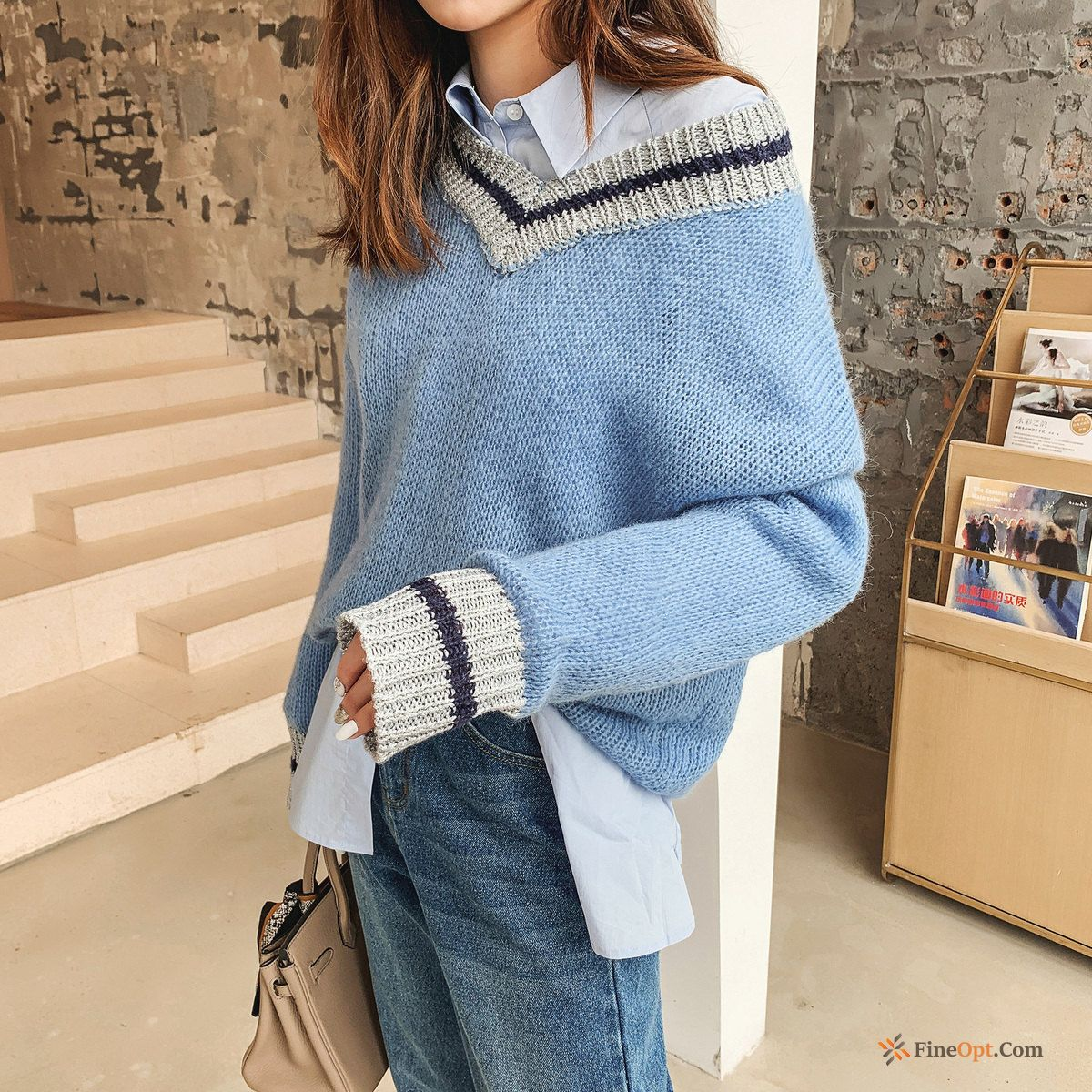 Sweater Coat Autumn Europe V-neck Skinny Pullovers Powderblue Sale