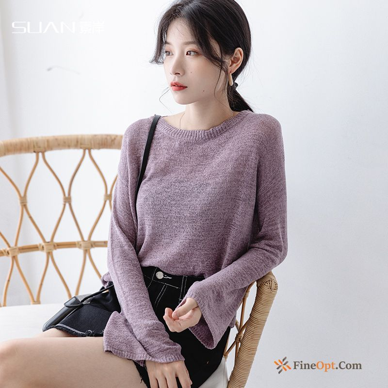 Sweater Loose Purple Skinny Pullovers Knitwear Sweater Short For Sale