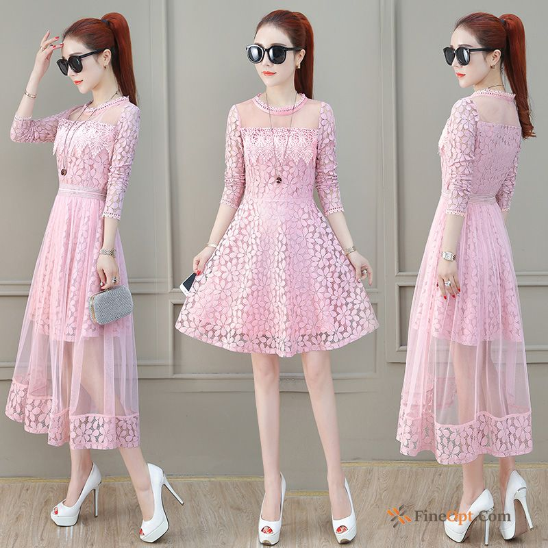 Temperament Spring Europe Ladies Two-piece Suit New Pink Dress For Sale