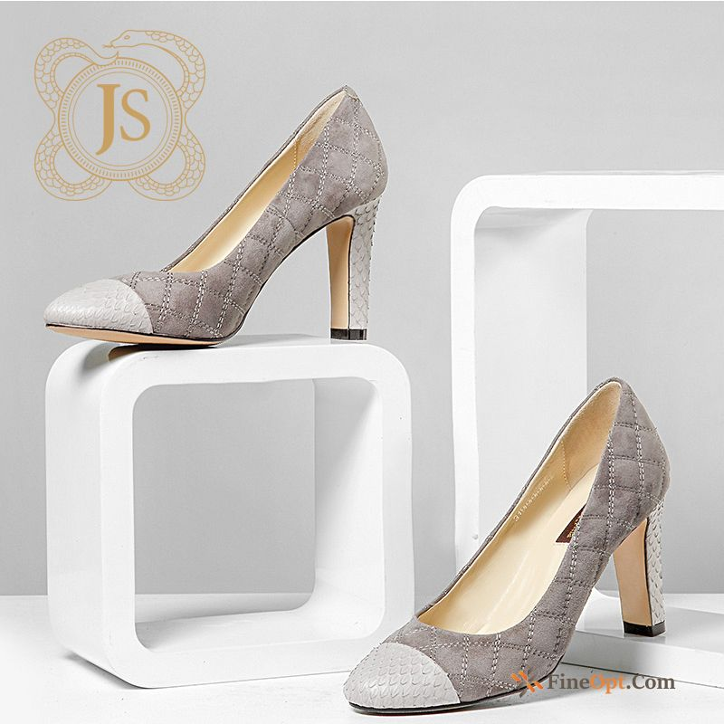 Thick All Seasons Spring New Snakeskin High Heels Business Snow Pumps