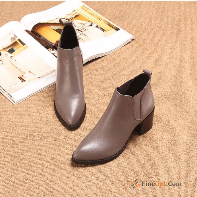 Thick New Plus Velvet Winter Pointed Toe Short Boots High Heels Boots