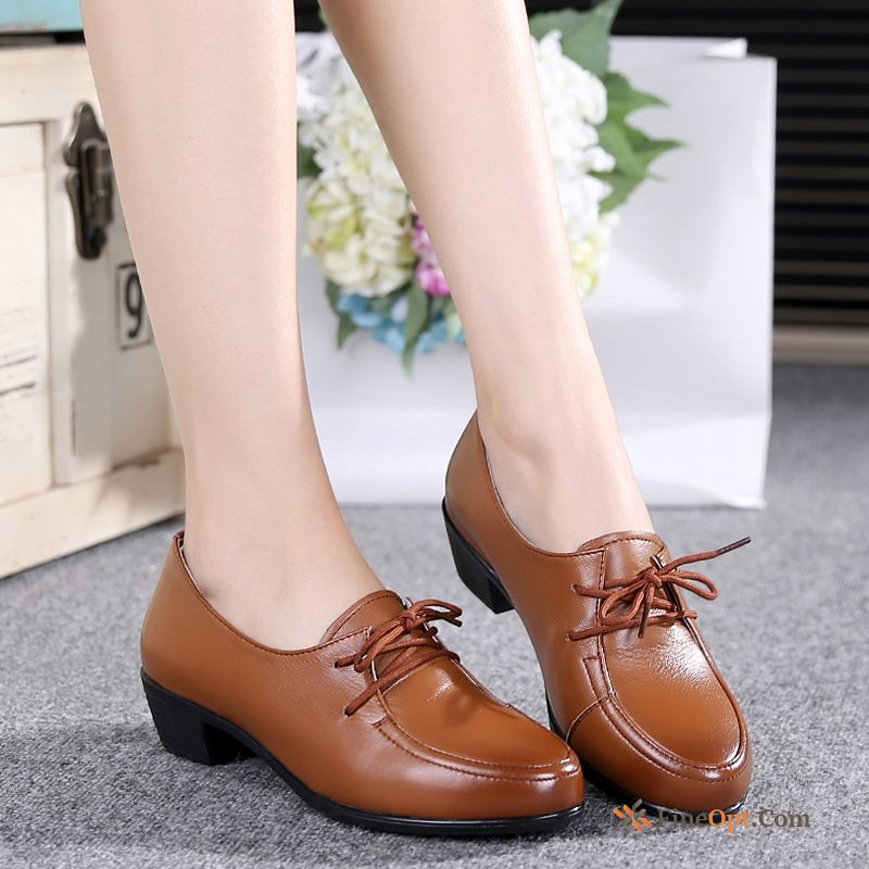 Thick Soft Sole Mid Heel Leather Shoes Pumps Genuine Leather New Pitch-dark Online