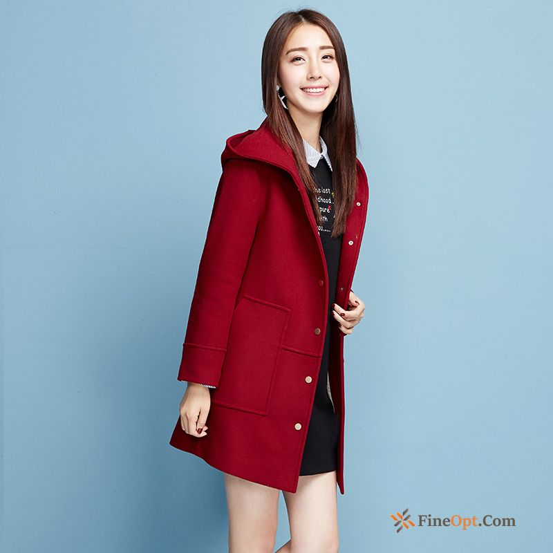 Thickening Long Wollen Fabric Europe Coat New Hooded Pale Purple Coat