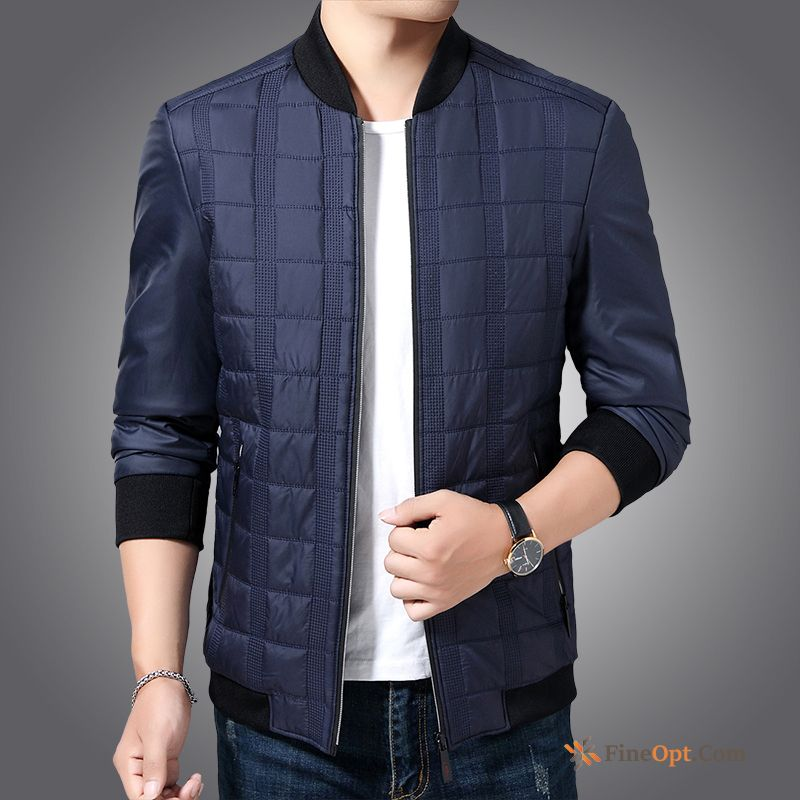 Thickening Men's Middle Aged Blue New Cotton Coat Oyster White Cotton Jacket
