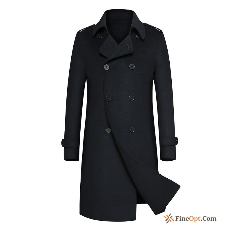 Thickening Sided British Coat Middle Aged Men's Woolen Coat For Sale