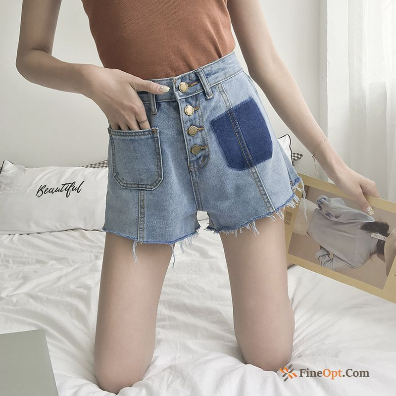 Thin Straight Loose High Waist Spring Hot Pants Europe Mauve Shorts