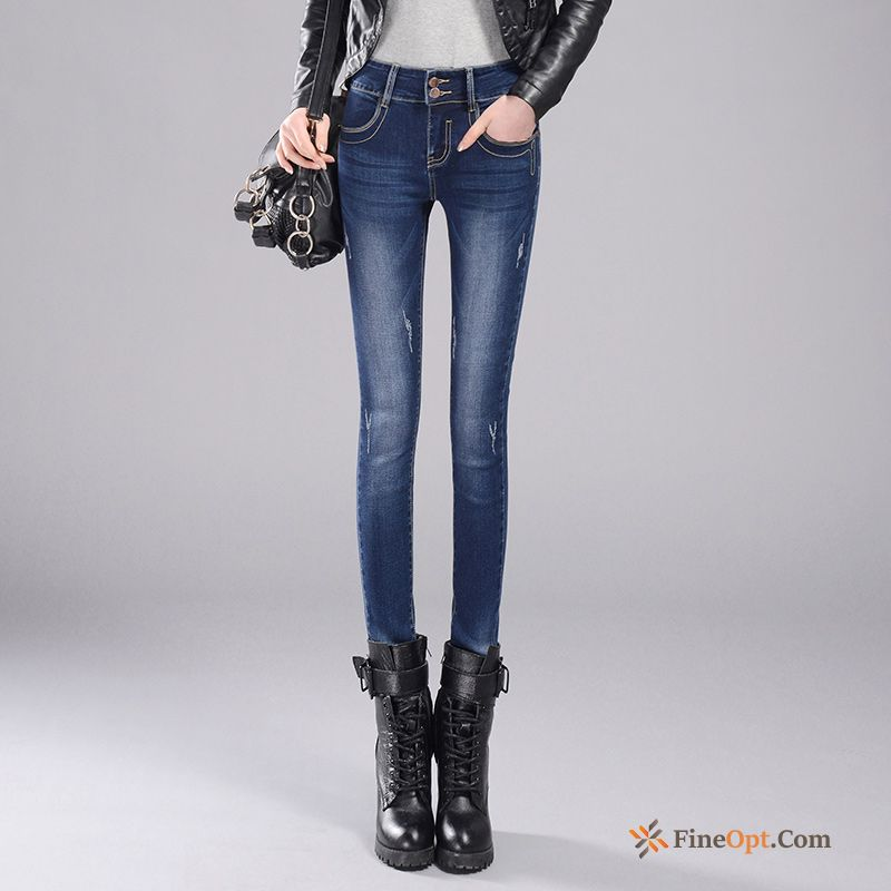 Thin Thickening Plus Velvet Skinny Trousers Winter High Waist Jeans Discount