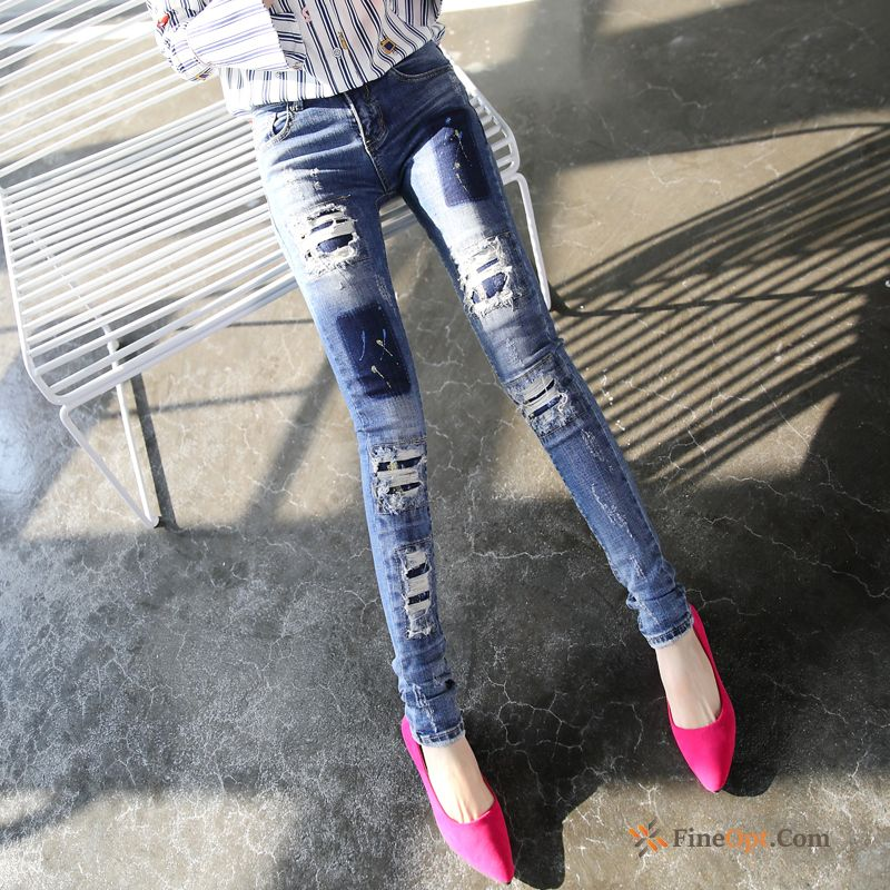 Thin Trend Pants Pants Holes Blue Spring Jeans