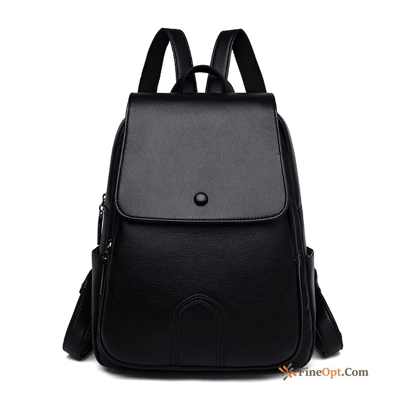Travel All-match Black Genuine Leather Backpack Women Beef Leather Backpack Discount