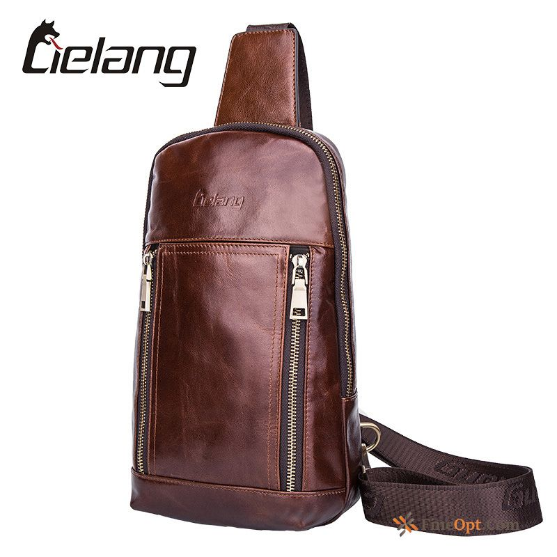 Travel Leisure Genuine Leather Beef Leather Bags Trend Chest Pack Shoulder Bag Online
