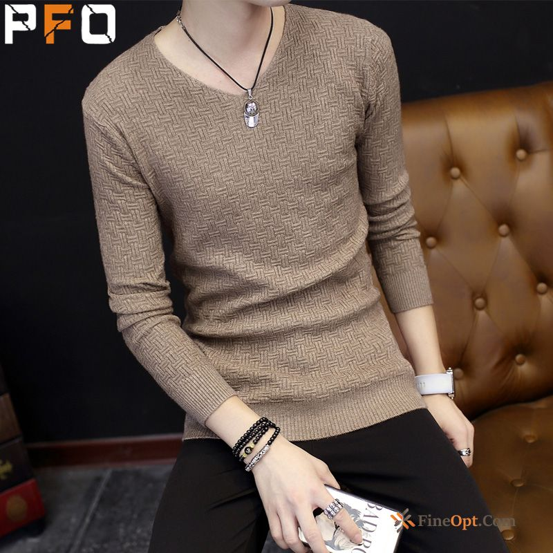 Trend Bottoming Shirt Sweater Spring Knitwear Sweater New Men's Blue