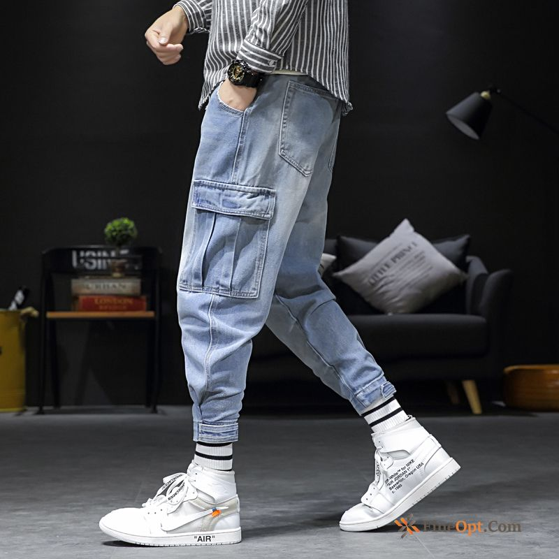 Trend Brand Men's Cargo Large Size Pants All-match Blue Lavender Cargo Pants For Sale