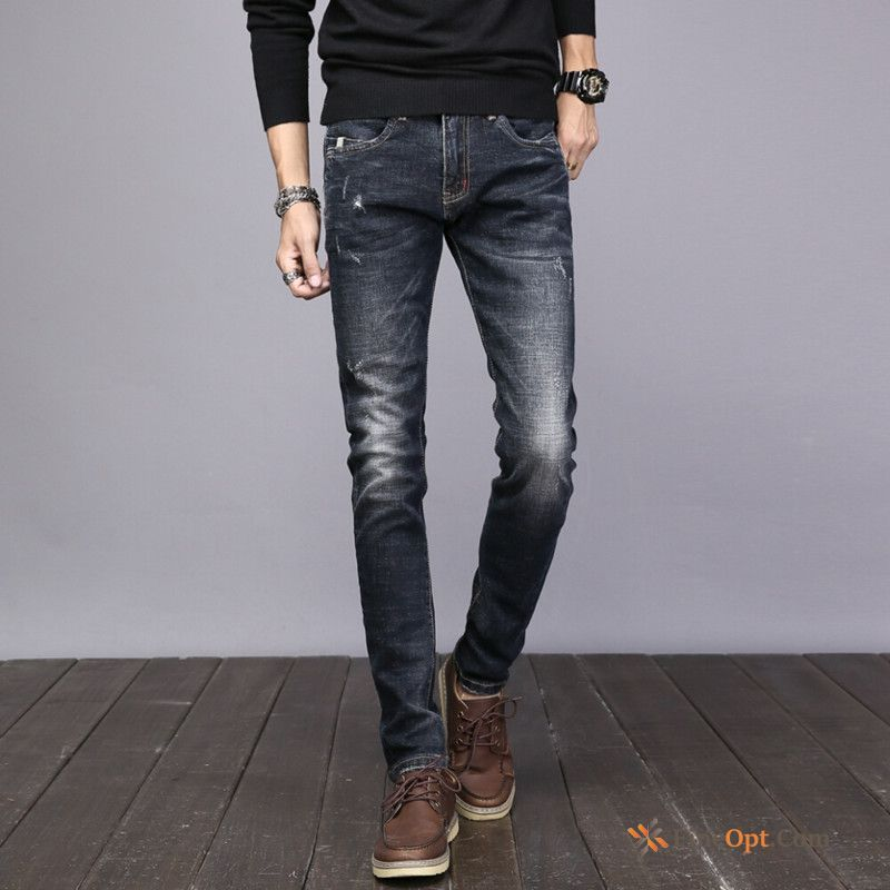 Trend Leisure Black Jeans Autumn Elasticity Winter For Sale