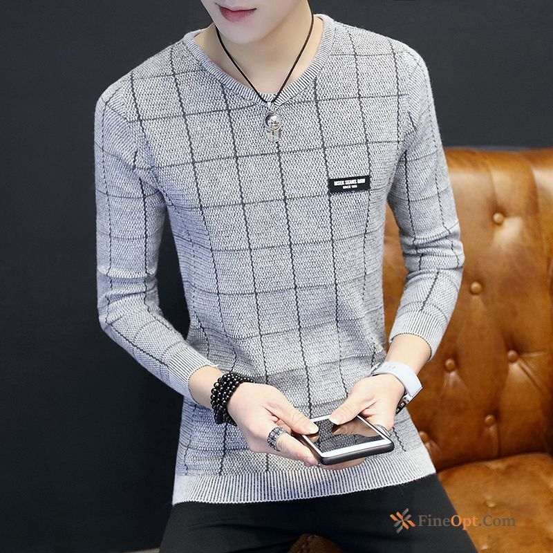 Trend Long Sleeves T-shirt Personality V-neck Men's Spring Sweater