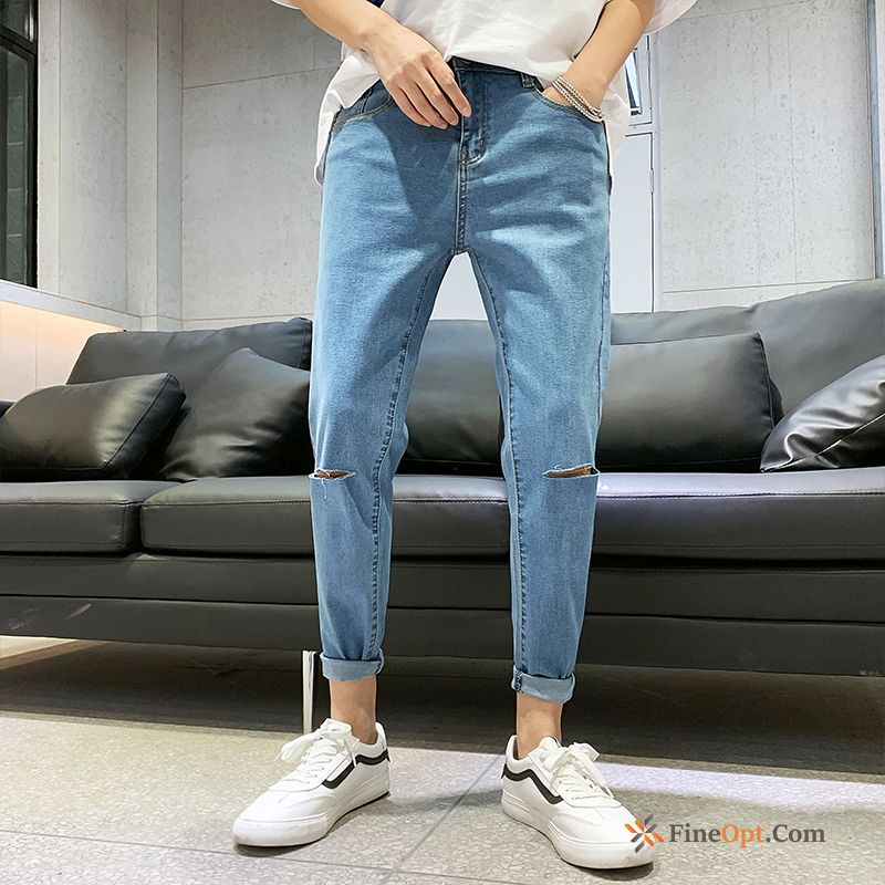 Trend Ninth Pants All-match Handsome Slim Europe Men's Jeans