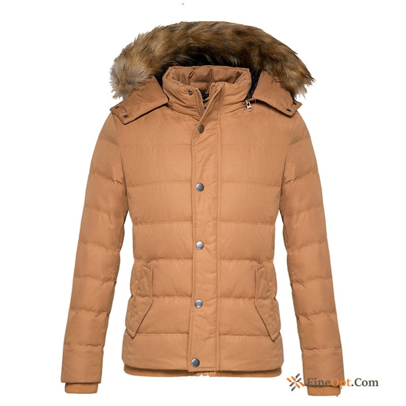 Trend Warm Duck Down Student Men's Fur Collar Removable Cap Down Jacket