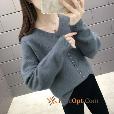 V-neck Knitwear Sweater Loose Gray Autumn Sweater Pullovers Rose Violet Discount