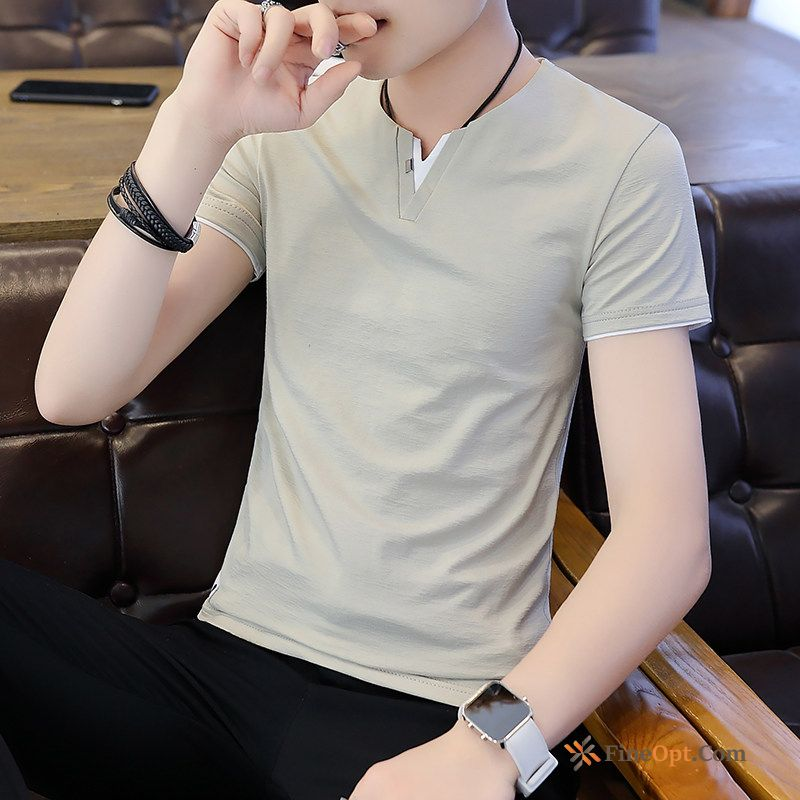 V-neck Slim Trend New Men's Summer T-shirt T-shirts For Sale