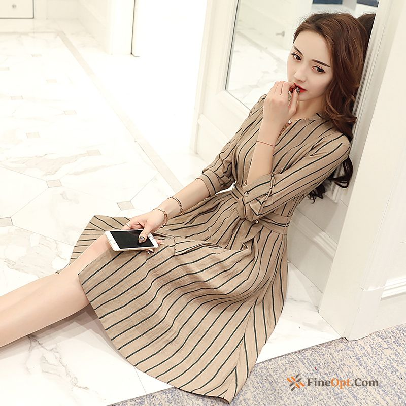 V-neck Spring Slim New Linen Stripes Long Salmon Pink Dress Online
