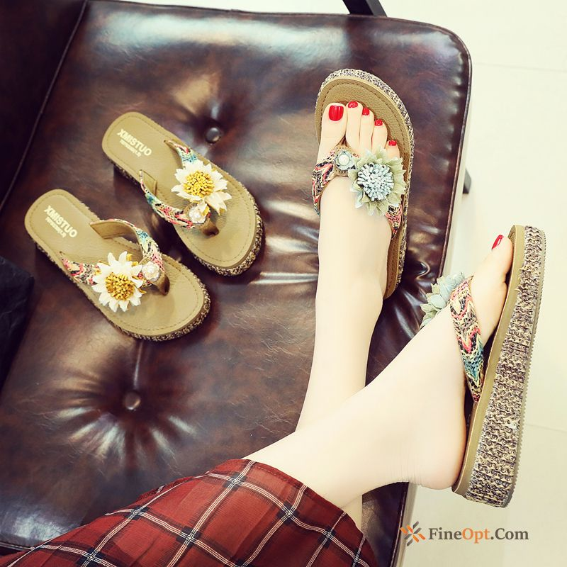 Wedges Fashion Mid Heel Thick Sole Slippers Beach Flip Flops Flip Flops Sale