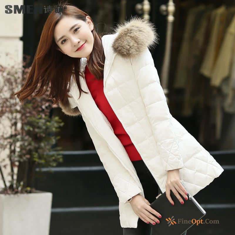 Winter Clothes Down Jacket New Thin Long Fashion Warm White Discount