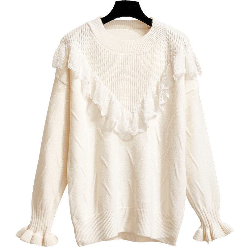 Winter Fashion Loose Student White Thin Pullovers Sweater Discount