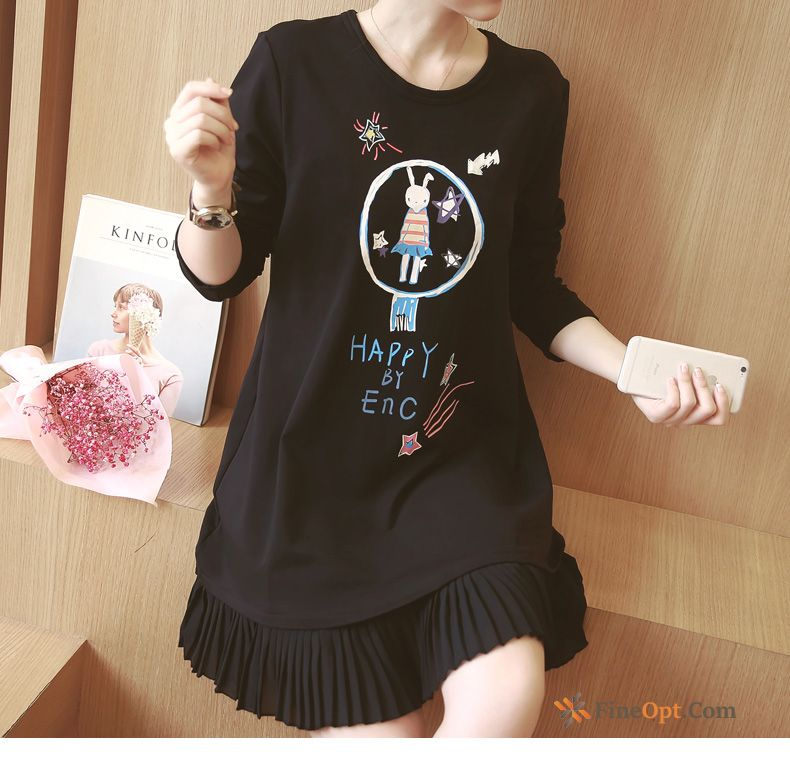 Winter Flower Europe Thick Long Sleeves Bottoming Shirt Loose T-shirts
