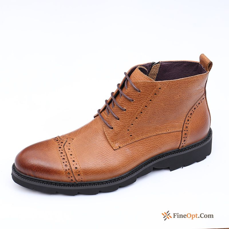 Winter Genuine Leather Trend British High Top Men's Boots Online