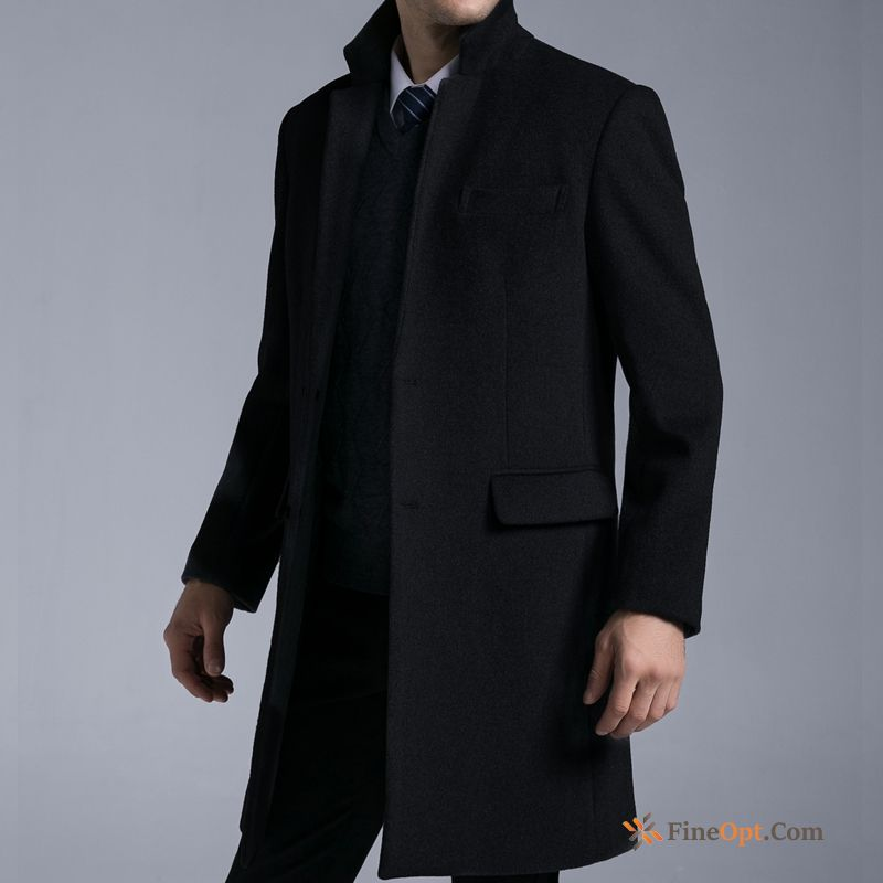 Winter Men's Overcoat Woolen Slim Middle Aged Leisure Coat