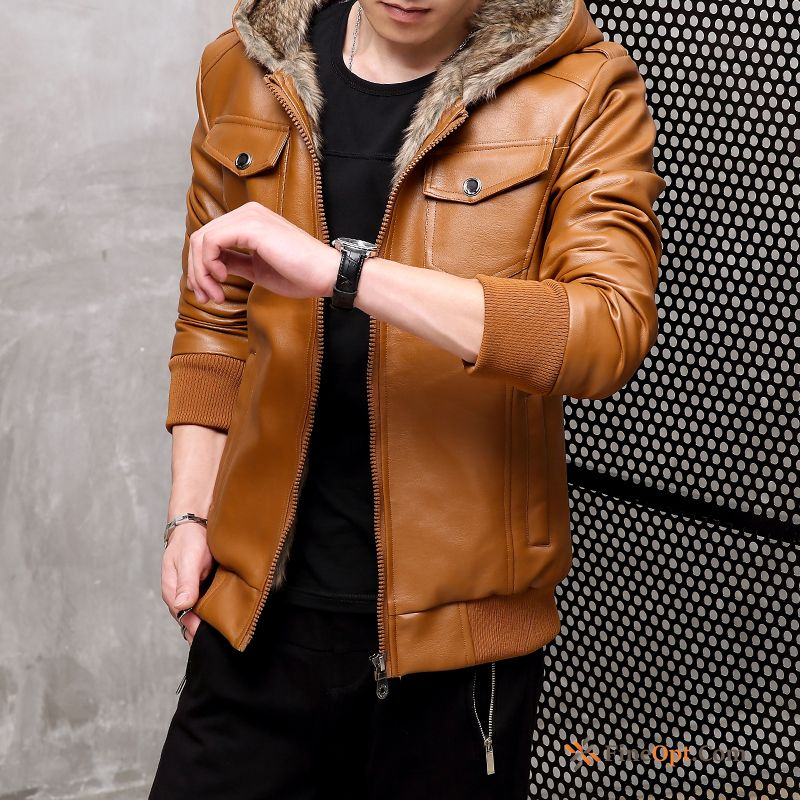 Winter Warm Jacket Thickening Plus Velvet Leather Hooded Leather Jacket