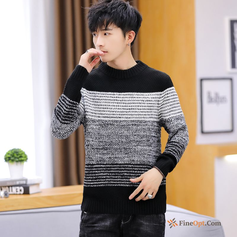 Winter Warm Round Neck Sweater Men's Knitwear Sweater Bottoming Shirt For Sale