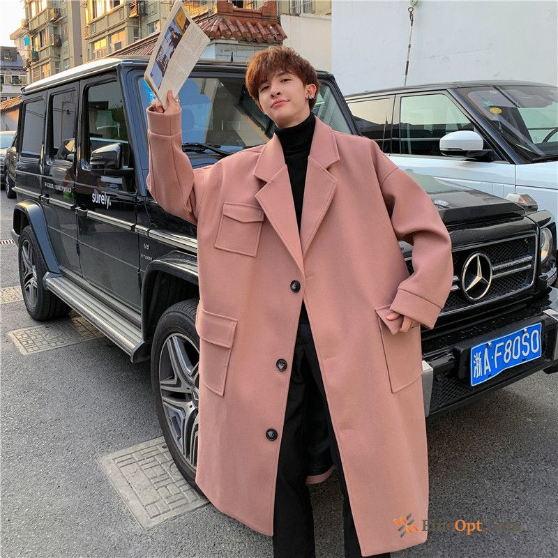 Wollen Fabric Autumn Winter Pink Long New Loose Coat For Sale