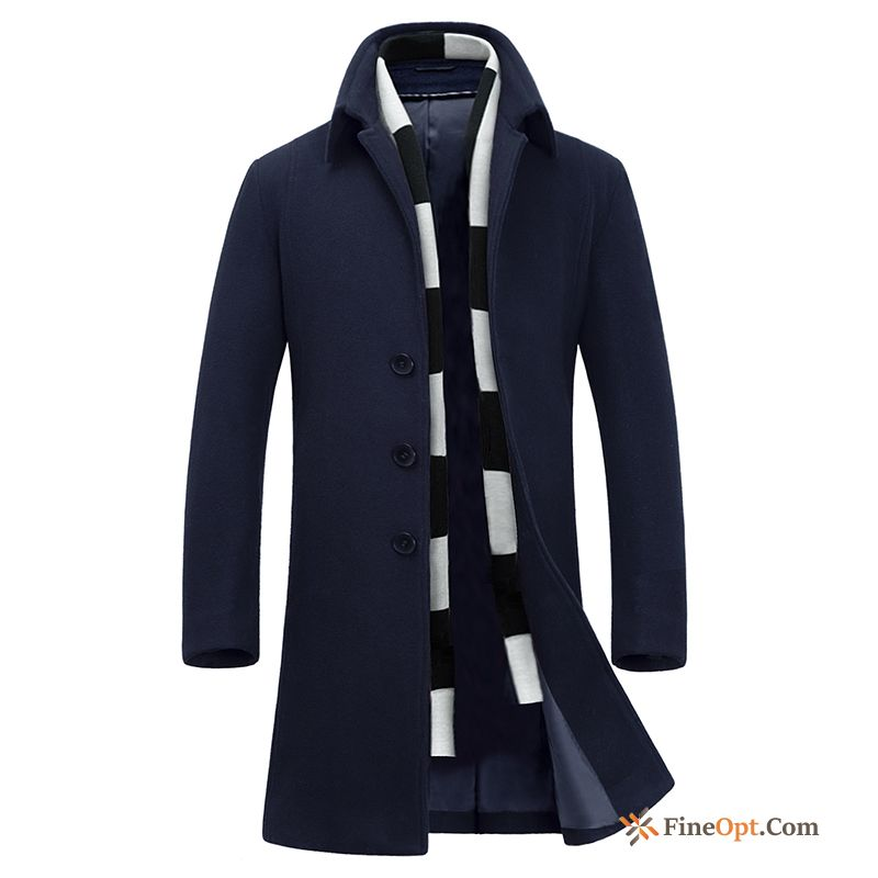 Wollen Fabric Coat Overcoat Trend Slim Thickening Youth Coat