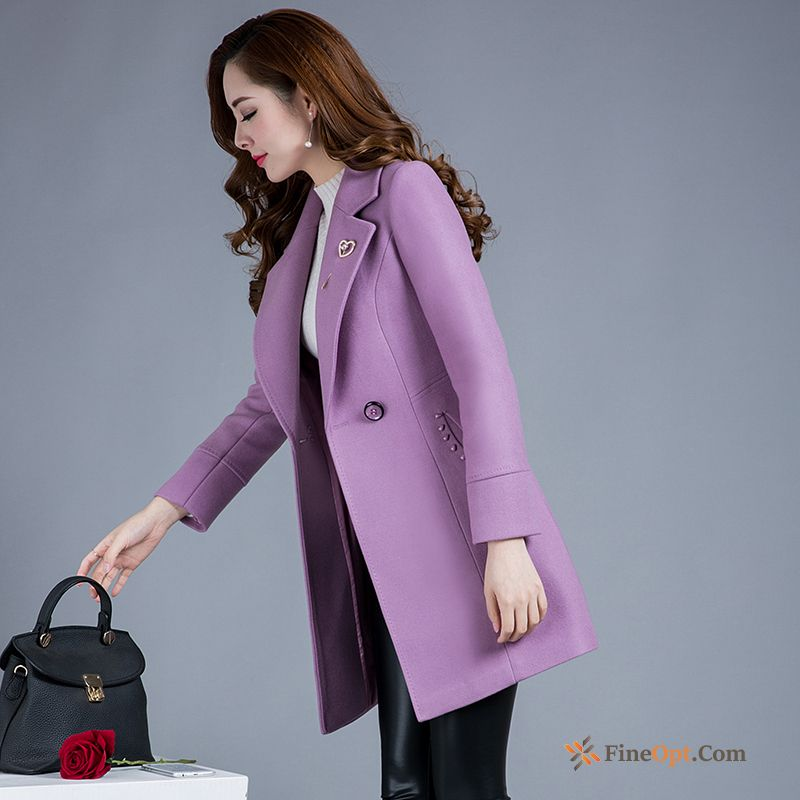 Wollen Fabric Overcoat New Thin Wool Autumn Double Breasted Coat