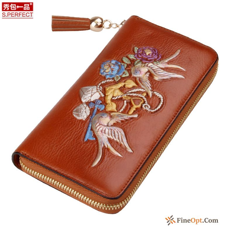 Women Wallet Hand Painted Beef Leather Wallet Wallets Clutch