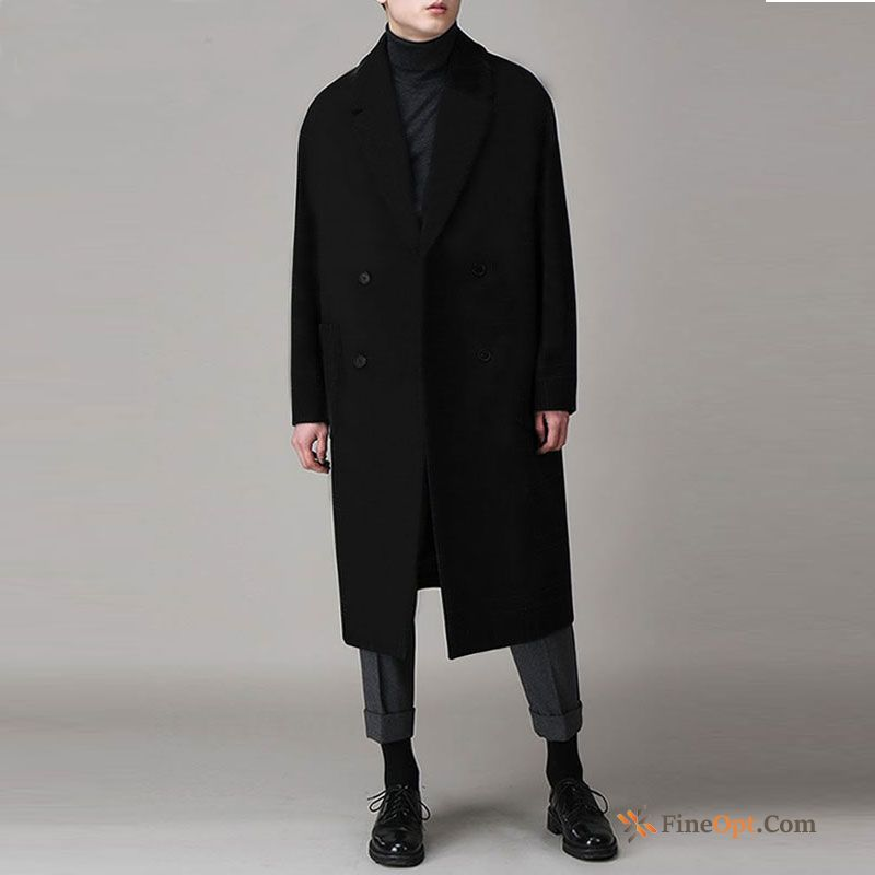Wool Youth Black Trend Men's New Winter Lavender Coat