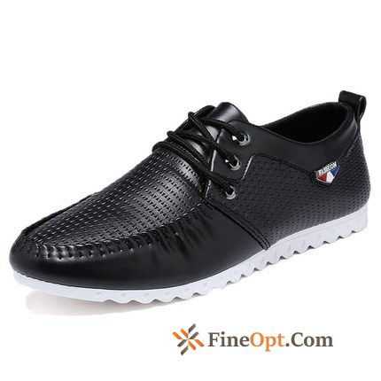 Youth Loafers Breathable Leather Shoes Men's Trend White Dull Black Online