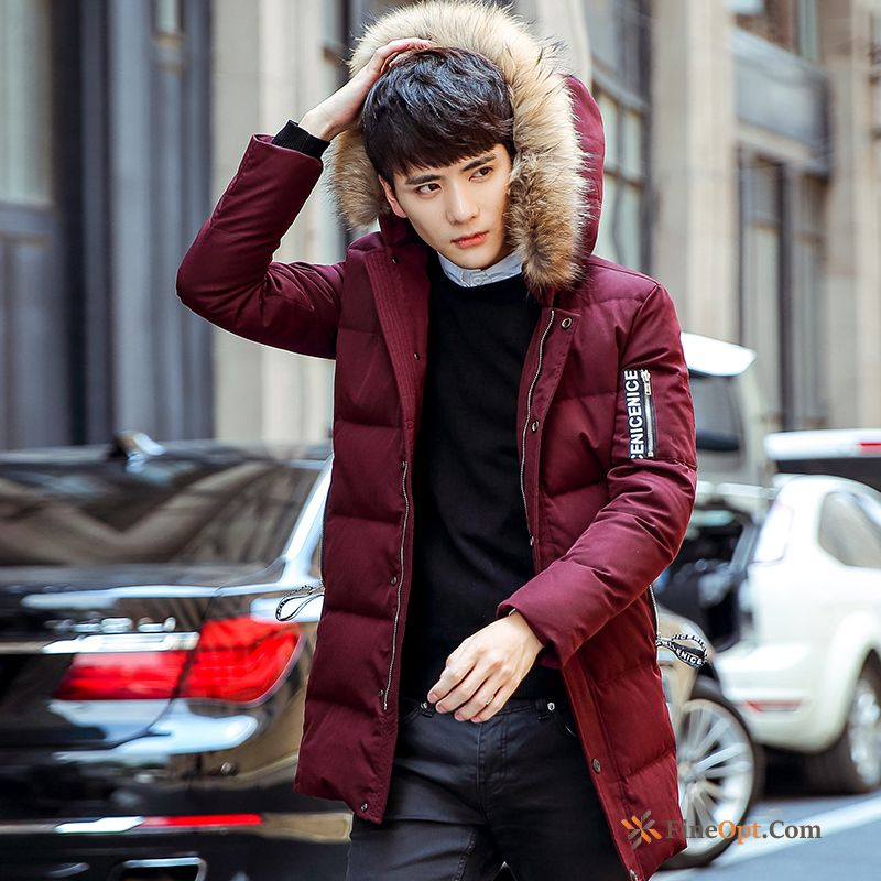Youth Trend Winter Men's Slim Europe Long Down Jacket