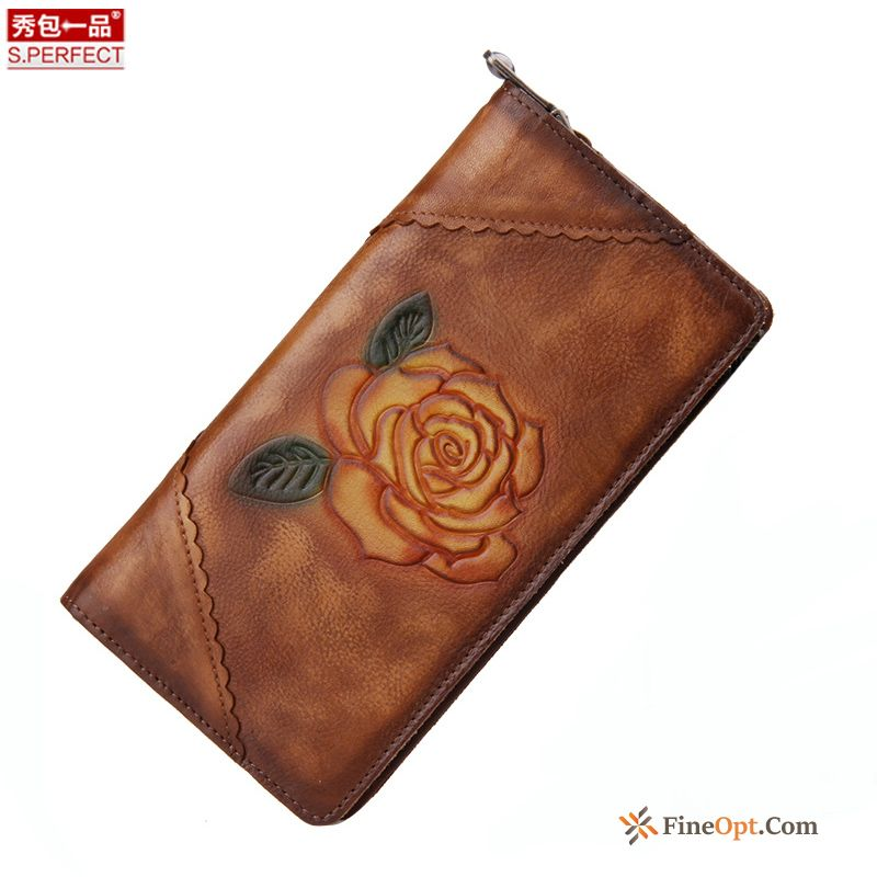 Zipper Beef Leather Wallet Wallets Retro Long Section Hand Painted For Sale