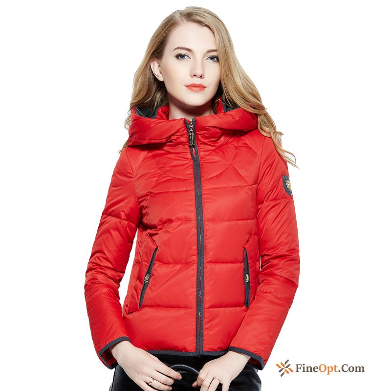 Zipper Contrast Color Short Down Jacket New Slim Hooded Deep Yellow