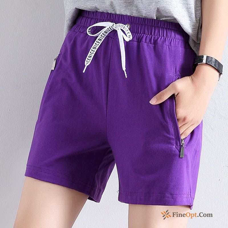Zipper Leisure Short Pants Purple Thin All-match Hot Pants Shorts Discount