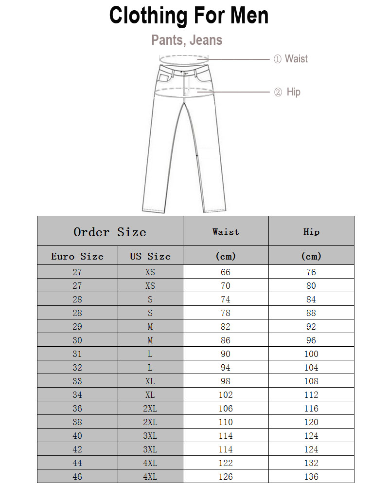 Fineopt Men Jeans Size
