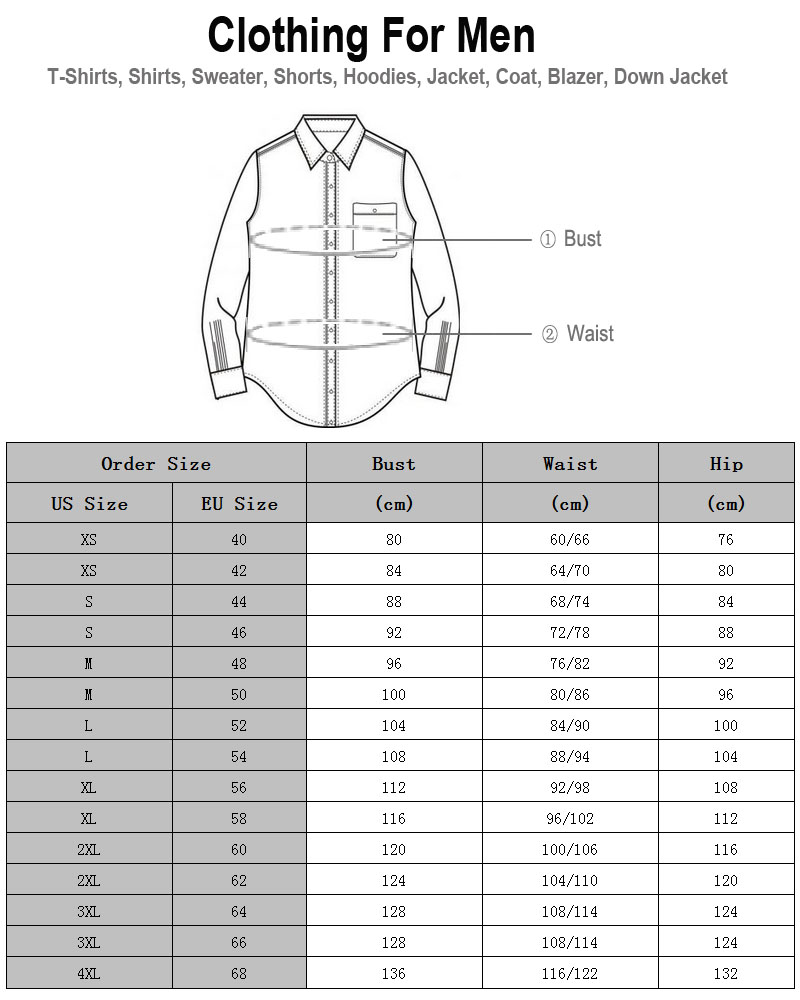 Fineopt Men Clothing Size
